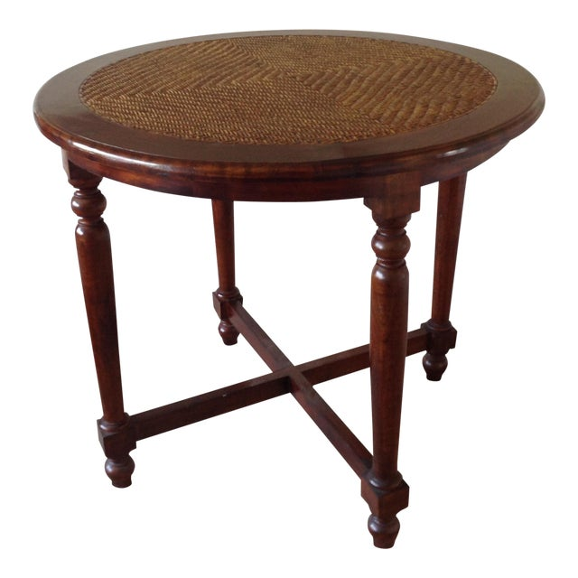 Round Wood Table With Woven Wicker Top For Sale