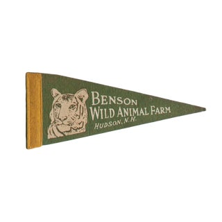 Vintage Benson Wild Animal Farm Felt Flag Pennant