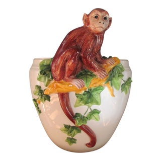 Italian Porcelain Monkey and Vine Planter / Cachepot For Sale