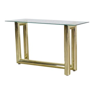 Vintage 1970s Modern Brass Plate Console Sofa Table With Glass Top After Karl Springer For Sale