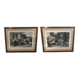 Framed Neoclassical Prints With Mahogany Frames - Set of 2 For Sale