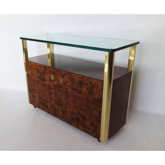 Century Furniture Burl Wood and Brass Sideboard by Century Furniture Company For Sale - Image 4 of 8