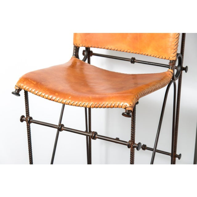 Vintage Leather & Wrought Iron Bar Stool, Arte De Mexico - Image 9 of 12