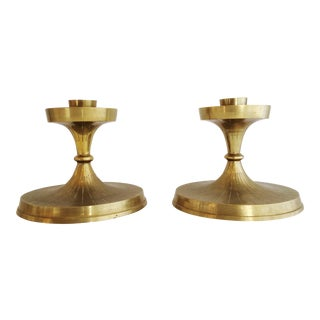 Mid 20th Century Brass Candle Stick Holders - a Pair For Sale