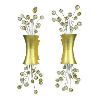 """Glamorous 24k Gold Leaf """"Pop"""" Sconces Designed by Fisher Weisman for Boyd Lighting - a Pair For Sale"""
