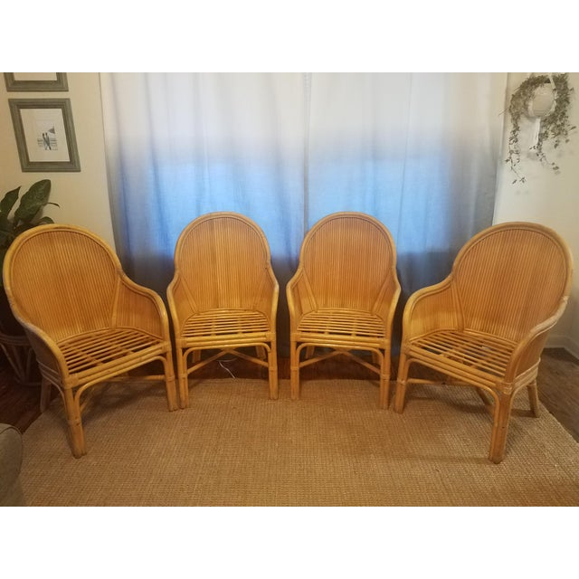 Old Florida, High-end Pencil Reed rattan chairs in style of famous designer Gabrielle Crespi! Make a statement with these...