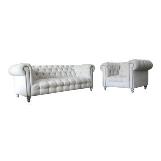 Chesterfield Off-White Linen Sofa and Chair For Sale