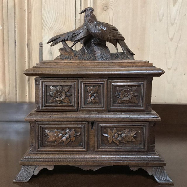 French Jewelry Box, 19th Century French Hand-Carved Walnut For Sale - Image 3 of 12