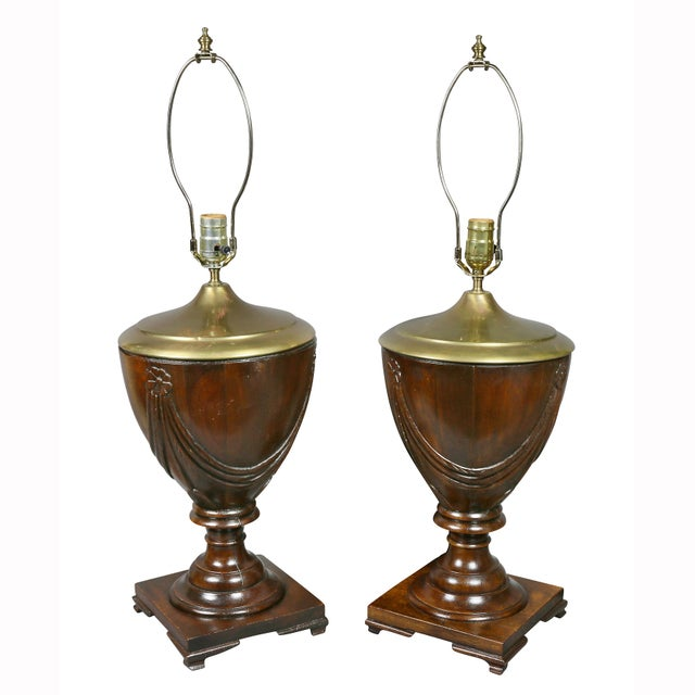 Georgian table lamps with shades, each urn shape with carved rosette and drapery. Square footed base with feet. Dingman...