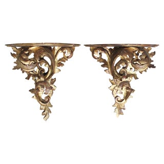 Pair of Large Italian Giltwood Brackets For Sale