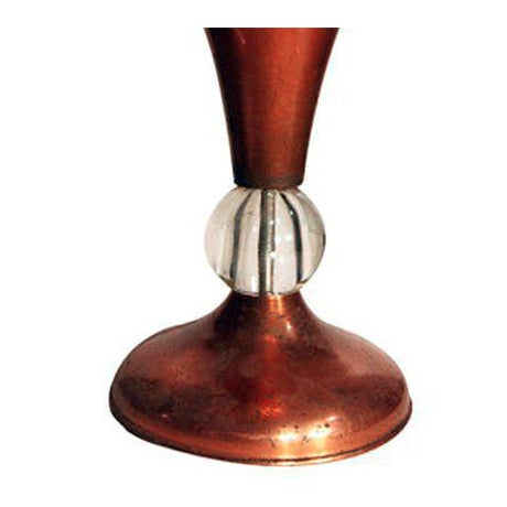 Vintage Mid-Century copper half glass torchiere table lamp with leaded glass center accent. USA, circa 1940. Condition-...