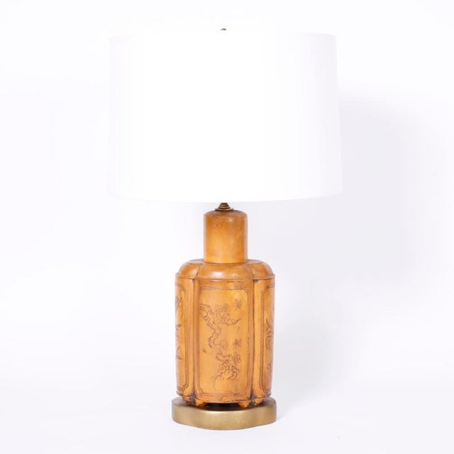 Asian 1960s Mid Century Asian Modern Faux Leather Table Lamps - a Pair For Sale - Image 3 of 8
