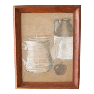 1958 Primitive Style Charcoal Still Life Drawing, Framed For Sale