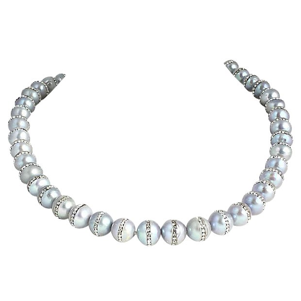Gray Pearl & Rhinestone Bead Necklace For Sale