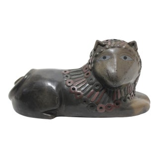 Mid-Century Artisan Created Smiling Lion Sculpture in Clay Earthenware For Sale