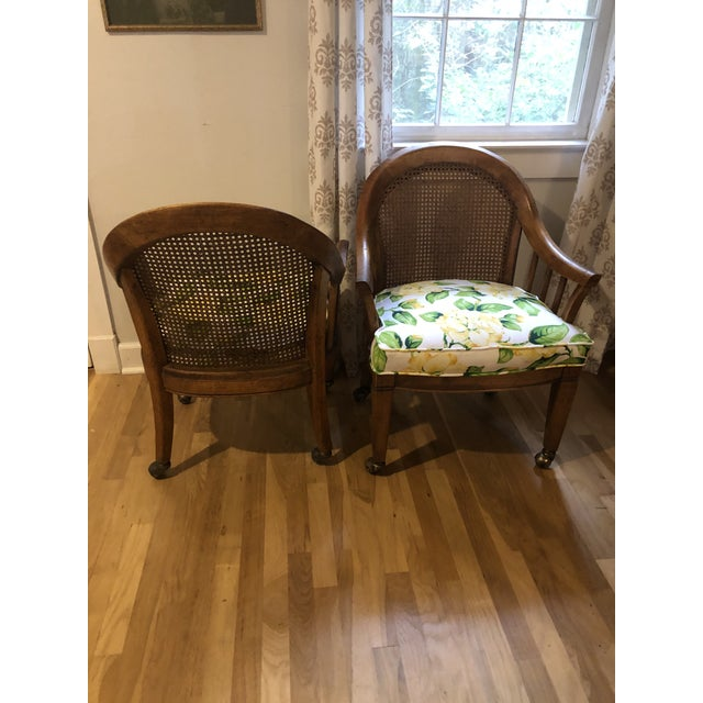 Mid Century Cane Back Rolling Chairs - a Pair For Sale - Image 4 of 12