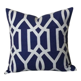 Mid-Century Modern Thibaut Downing Gate in Navy and White Pillow Cover - 18x18 For Sale