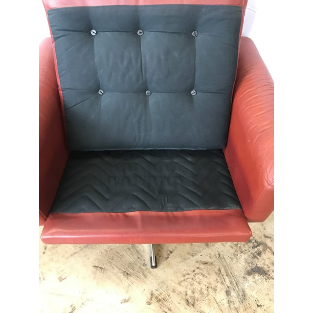 Red 1960s Mid Century Modern Red Leather Swivel Chair For Sale - Image 8 of 9