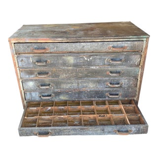 Industrial Antique Chest of Drawers With Genuine Patina. For Sale