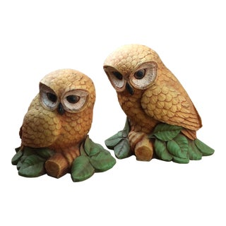 Home Interior Owl Figurines - a Pair For Sale