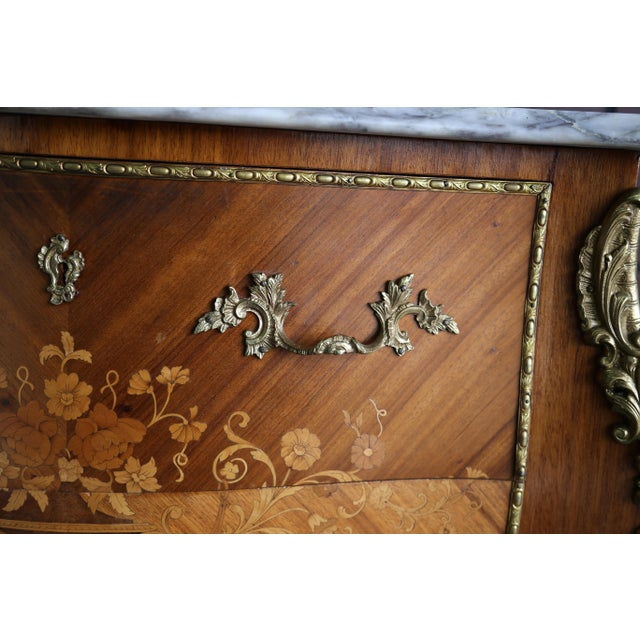 Wood 1900s Antique French Rococo Marble Top Nightstands-a Pair For Sale - Image 7 of 12