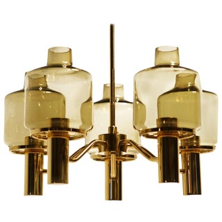 Midcentury Brass Glass Chandelier Hans-Agne Jakobsson, 1960s For Sale