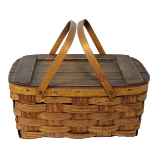 1930s Country Hand Wovan Oak Picnic Basket For Sale