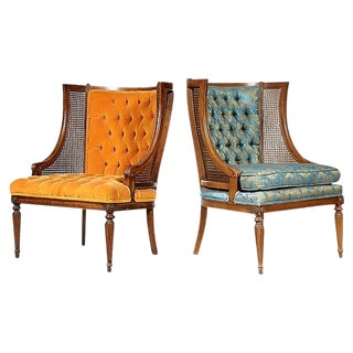 Cane Backed His & Her Lounge Chairs - a Pair