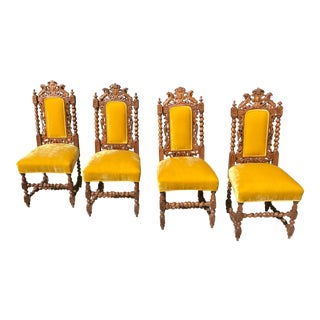 Early 20th Century European Carved Wood and Upholstered Chairs - Set of 4 For Sale