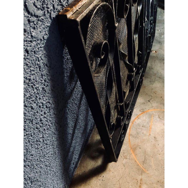 1940s Antique Black Iron Fireplace Screens-A Pair For Sale - Image 5 of 10