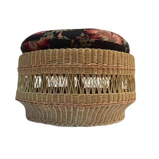 Vintage Wicker Ottoman Round Footstool With Cushion For Sale