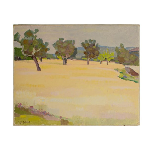 "Yellow 19th Century ""Spring Trees"" Expressionist Landscape Oil Painting by Ernest Yarrow-Jones For Sale - Image 8 of 8"