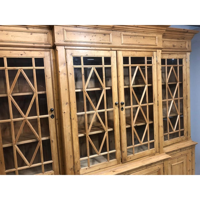 Wood Chippendale Solid Knotty Pine and Glass Breakfront Bookcase For Sale - Image 7 of 10