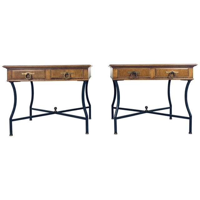 Stunning Pair of Tomlinson Inlaid Walnut Midcentury End Lamp Tables W Ring Pulls For Sale - Image 12 of 12