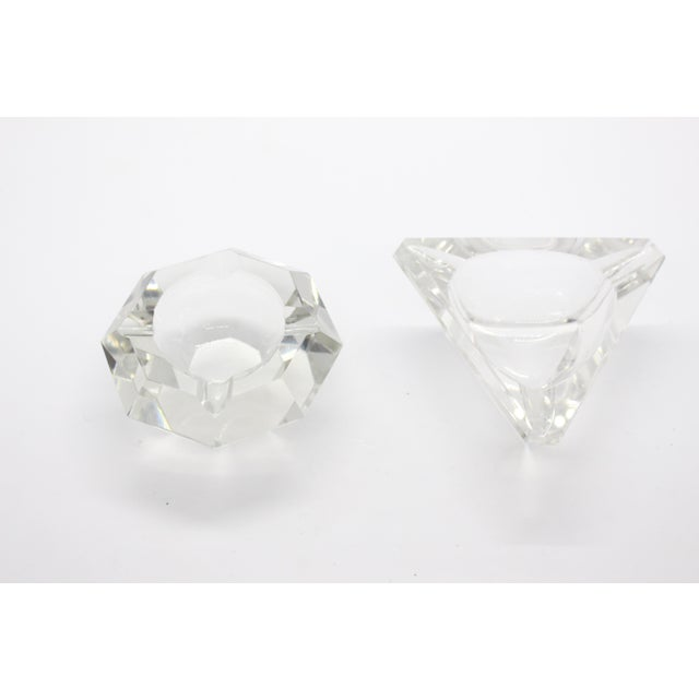 Hollywood Regency Geometric Lead Crystal Ashtrays - A Pair For Sale - Image 3 of 11