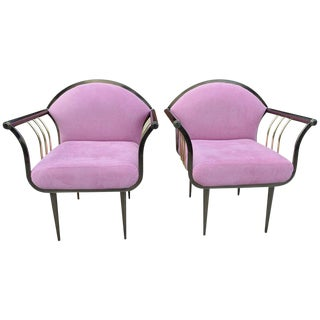 Pair of Design Institute of America Dia Memphis Style Bronze and Brass Armchairs For Sale