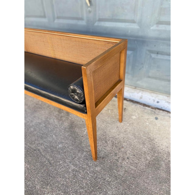 Mid 20th Century Danish Style Black Leather Bench For Sale - Image 5 of 13