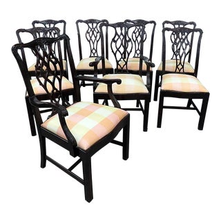 Vintage Mid Century Chippendale Style Dining Chairs- Set of 8 For Sale