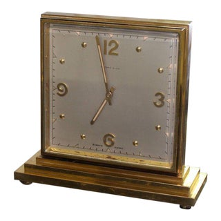 Double Sided Tiffany Heavy Bronze Square Desk Table Clock For Sale