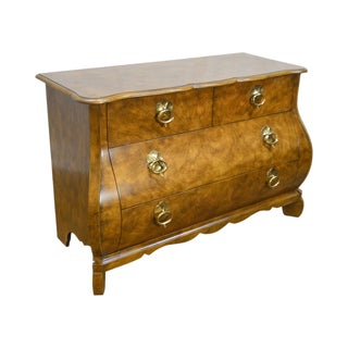 Baker Continental Style Bombe Walnut Commode Chest of Drawers For Sale