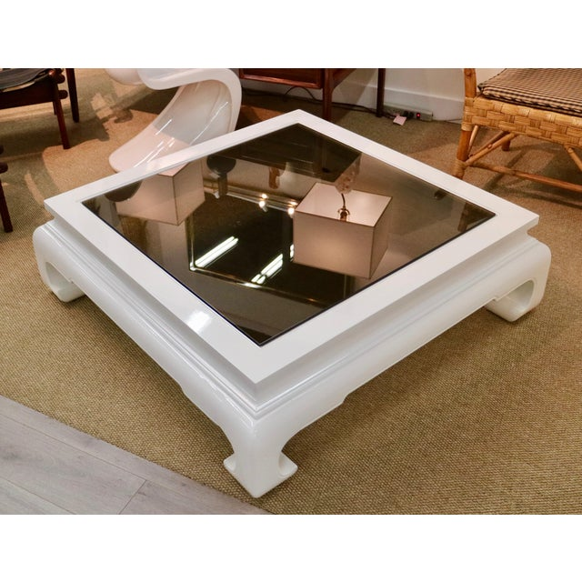 Glass Lacquered Chinese Table With Smoked Glass For Sale - Image 7 of 8
