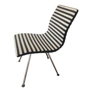 Contemporary Chrome Armless Desk or Office Chair in Polo Black and White Stripes For Sale