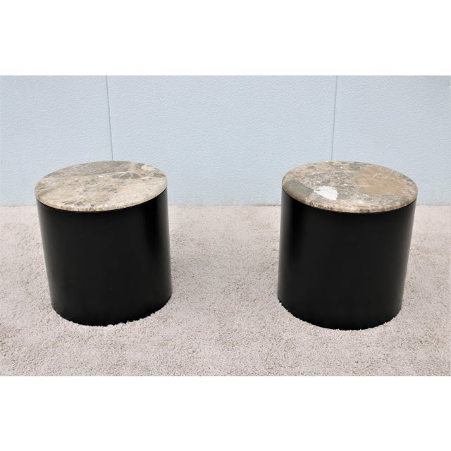 Mid Century Modern Paul Mayen Style Brown Marble Top Drum Side Tables - a Pair For Sale - Image 13 of 13