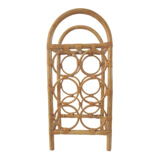 Bamboo & Rattan Wine Rack For Sale