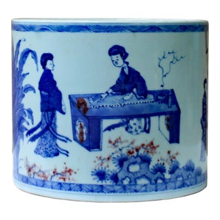 Chinese Blue & White Porcelain People Scenery Brush Holder Pot For Sale