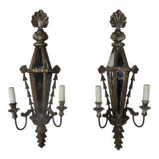 Carved Wood Venetian Mirrored Sconces C. 1920's- Pair For Sale