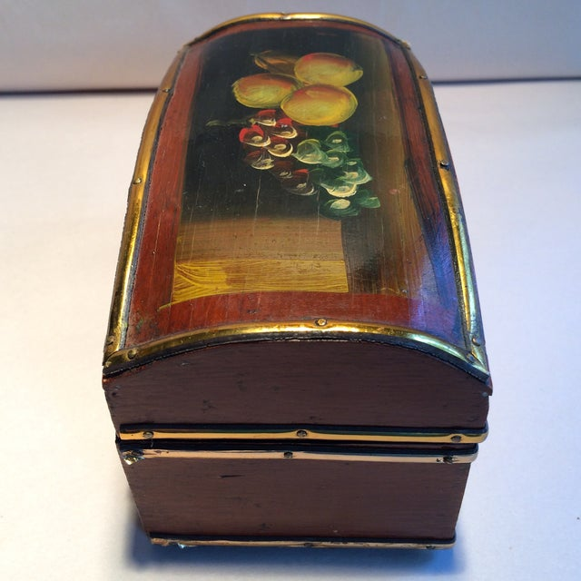 Vintage Hand Painted Fruit Motif Wooden Box For Sale - Image 4 of 11