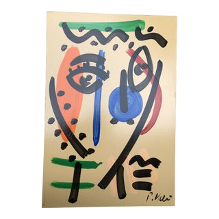 Vintage Original Peter Robert Keil Face Abstract Painting For Sale