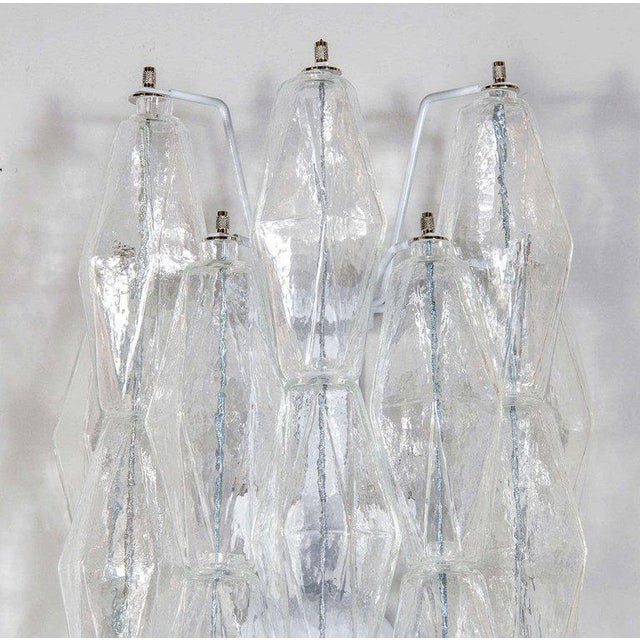 Early 21st Century Pair of Handblown Murano Glass Translucent Polyhedral Sconces For Sale - Image 5 of 6