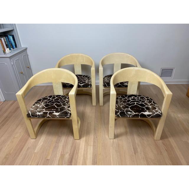 Leather Vintage Karl Springer Onassis Goatskin Chairs - Set of 4 For Sale - Image 7 of 11